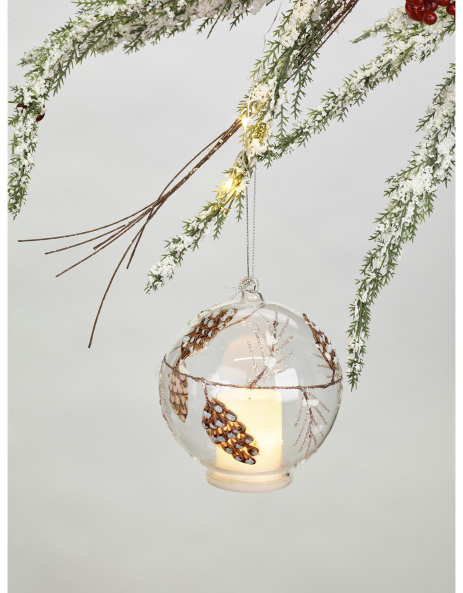 Glass Pine Cone LED Tealight Ornament
