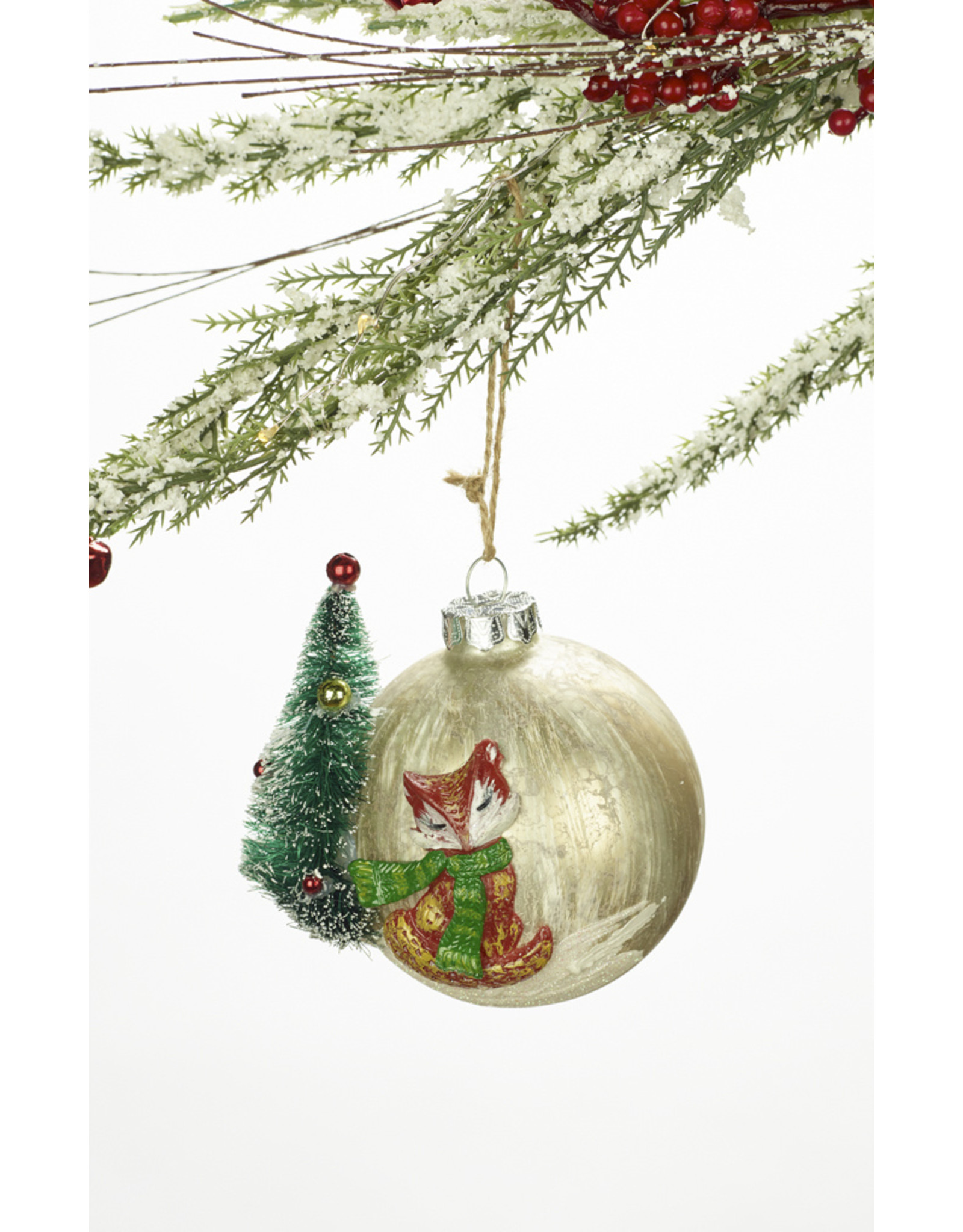 Glass Ball Squirrel or Fox Ornament Assorted