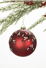 Red and White Birch Glass Ornament