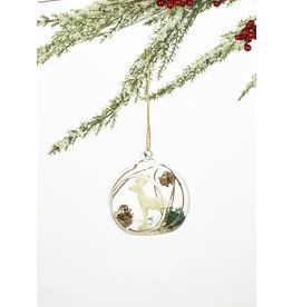 Squirrel Or Deer Glass Cloche Ornament Assorted