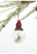 Cardinal On Glass Ball Ornament