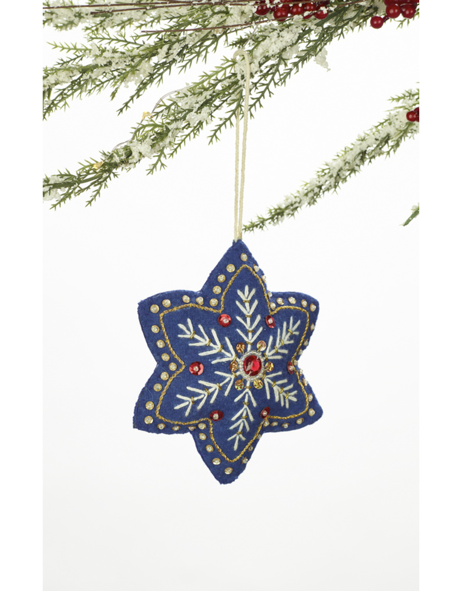 Blue Embroidered Snowflake Ornament Assorted