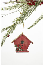 Polystone Red Bird House Ornament Assorted