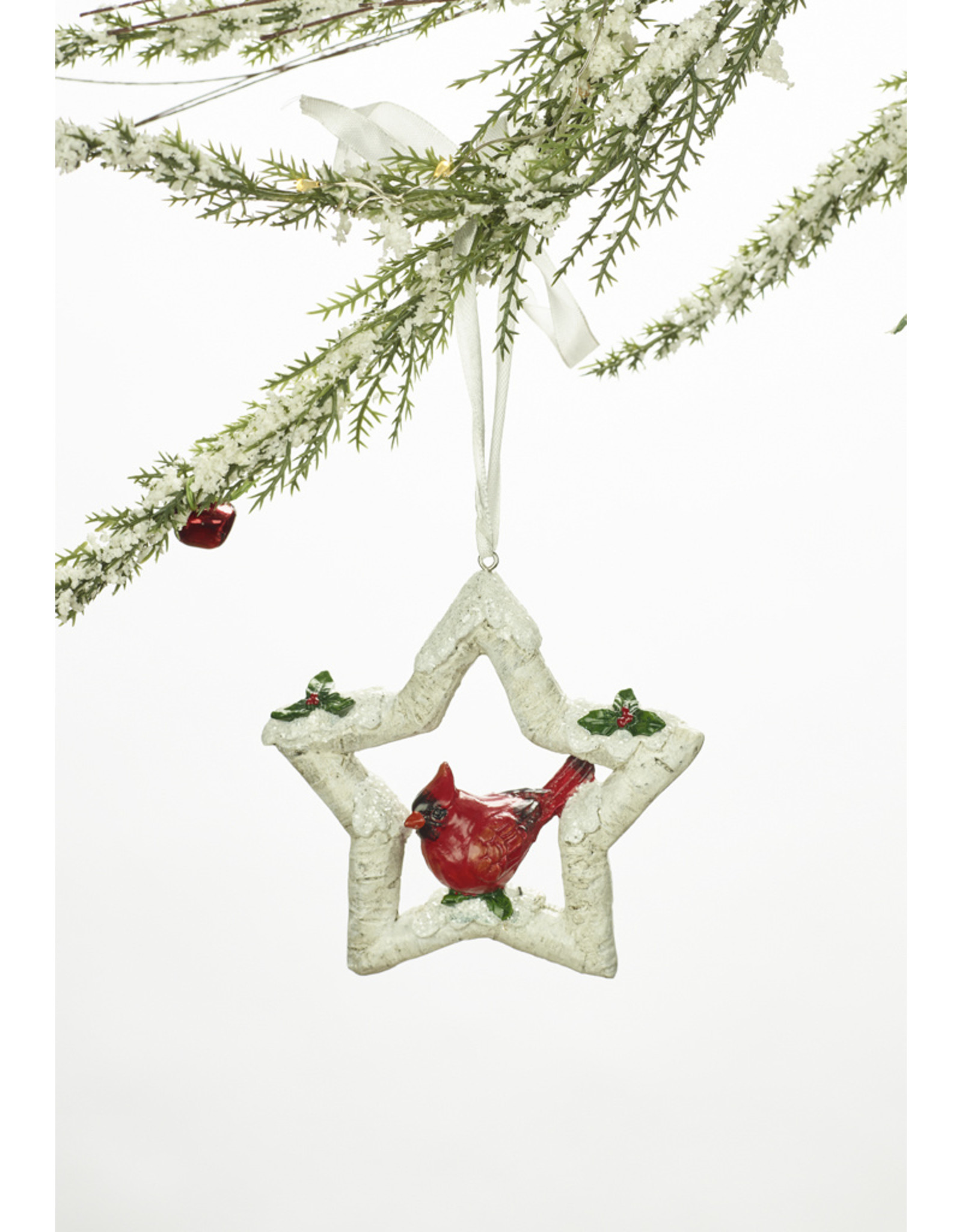 Polystone Cardinal Snowflake Wreath Ornament Assorted