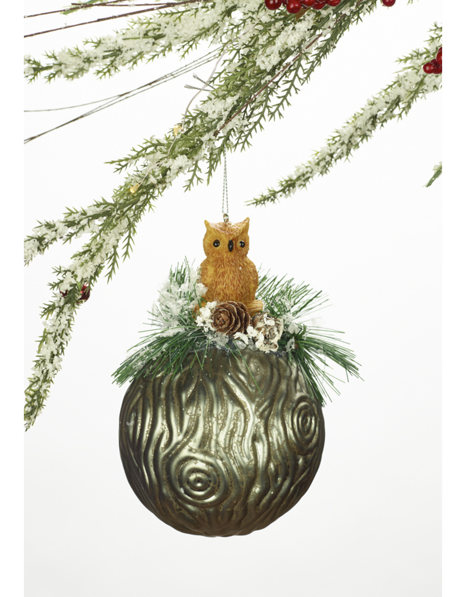 Glass Ball Owl or Squirrel Ornament Assorted
