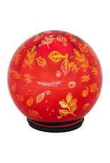 "Stargazing 6"" LED Orb Scattered Leaves Red"