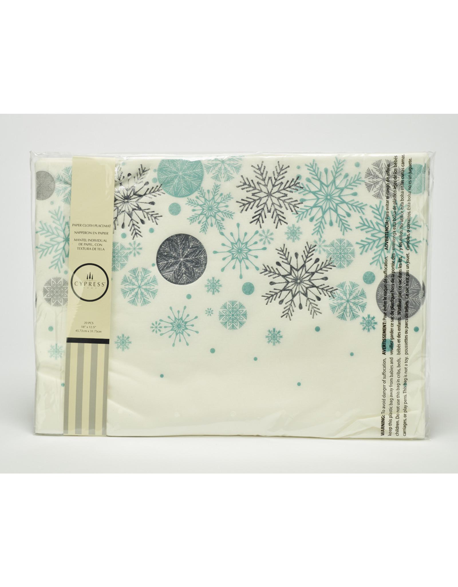 Paper Placemats Metallic Snowflake