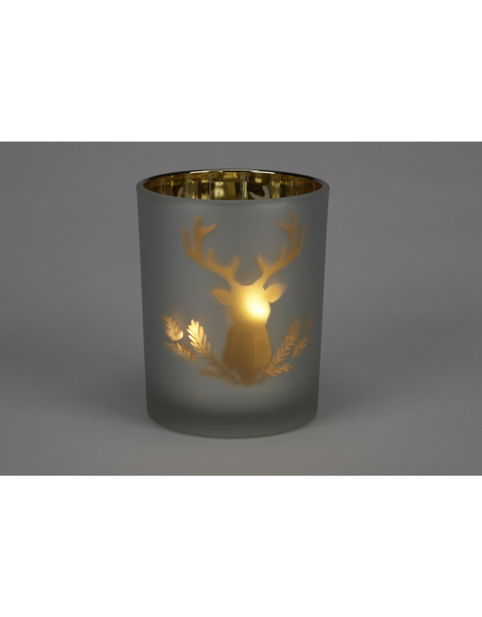 Metallic Forest Icons Glass Candle Holder Small