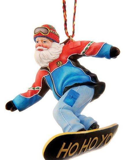 Snowboard Santa Ornament