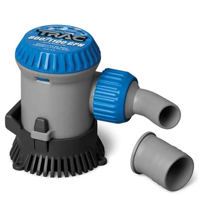 "Trac Trac Bilge Pump Submersible 800/1100GPH 3/4"" & 1-1/8"" Outputs"