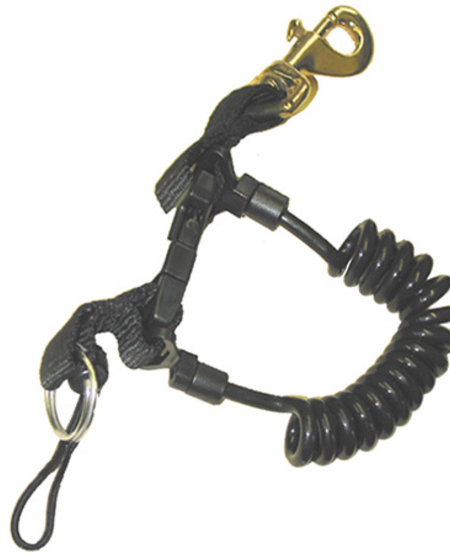 Teck Diver Coil Lanyard w/Brass Clip Blue
