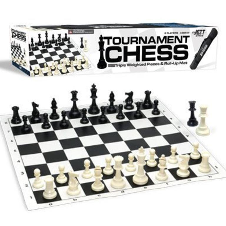 Classic Game Collection Chess Set w/ (Jett Game Tournament) Triple Weighted  Pieces and Roll-Up Mat