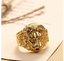 SEVEN50 316L Stainless Steel Gold Lion Head Rings