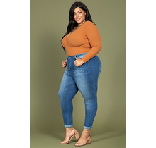 YMI Junior Plus Size Hide Your Muffin Top High-Waist Ankle Jean
