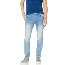 WT02 Men's Clean Washed Basic Stretch Denim Pants, Light Sand Blue