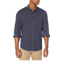 Dockers Men's Ultimate Button Up Smart 360 Flex Shirt | Deep Blue Night Pattern