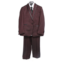 TAZIO Boy's 5pc Suit Regular Fit B393-4 BURGUNDY (Big Kids)