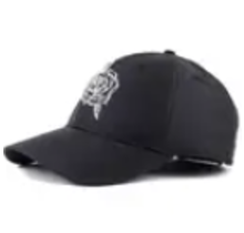 No Bad Ideas Playboy Relaxed Cap OSFM, Satin Black with White Rose Stitch