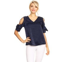 Solar Women's Blouse Top ST1274, Navy