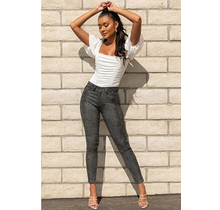 YMI Junior High-Rise Animal Print Skinny Jean - Charcoal Snake - P941608