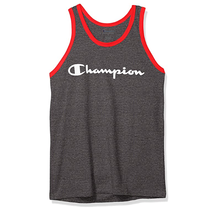 Champion Men's Classic Graphic Tank, Granite Heather/Red Flame