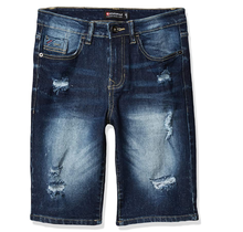 Southpole Big Boys' Ripped Denim Shorts, Dark Sand Blue Distressed
