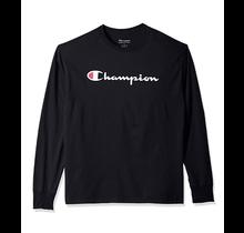 Champion Men's Classic Jersey Long-Sleeve Tee, Script Logo - Black
