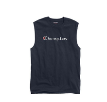 Champion Men's Classic Jersey Muscle Tee, Script Logo , Navy