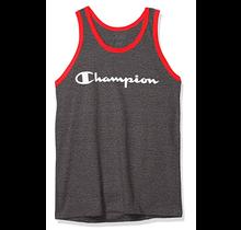 Champion Men's Classic Jersey Tank, Script Logo GT24H - Granite Heather/Flame Red