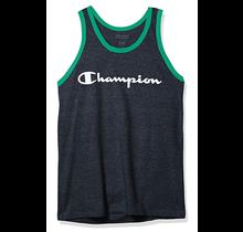 Champion Men's Classic Jersey Tank, Script Logo, Navy/Myth Green