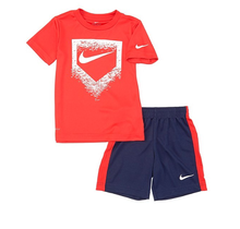 Nike Boy's Swoosh Baseball Plate Set   Midnight Navy/White/University Red