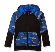 Hanes Sport™ Boy's Tech Fleece Full Zip Hoodie | Black/Fast Dash Camo/Surf The Web
