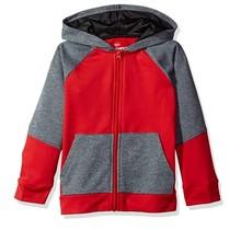 Hanes Sport™ Boy's Tech Fleece Full Zip Hoodie   Scarlet/Stealth Heather/Black