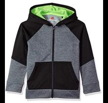 Hanes Sport™ Boy's Tech Fleece Full Zip Hoodie   Stealth Heather/Black/Forging Green
