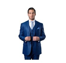 Tazio Men's 3 Piece Modern Fit 2 Button Suit | Navy Blue