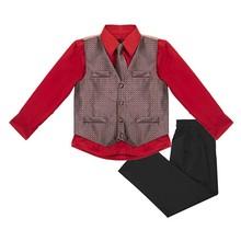Vittorino Boys Jacquard 4 Piece Suit Set | Black Holiday Red
