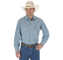 Wrangler Men's Western Work Shirt Washed Finish, Medium Blue Chambray 70136MW
