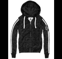 REFLEX Stripe Zip-up Hoodie w/ Love Embroidery JK157 | Marbled Black