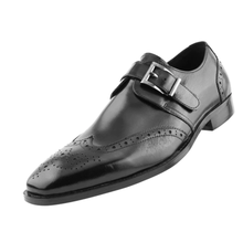 Asher Green Genuine Leather Wing Tip Monk Strap | AG039 | Black