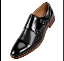 Amali Double Monk Strap Dress Shoe   Merlin   Black