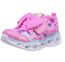 Skechers Girls' Heart Lights Sparkle Sparks Sneaker, Hot Pink/Turquoise