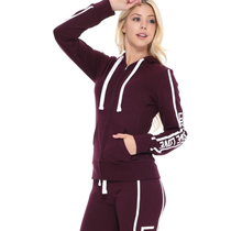 Reflex French Terry Zip-Up Hoodie w/ Love Print JK382 | Plum