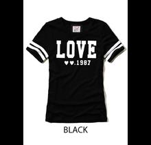 Reflex Solid Cotton Slub LOVE Embroidery Short Sleeve Tee S617   | Black