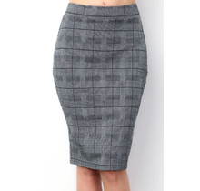 Checker Pencil Skirt CH1160-2 | Grey