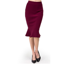 Solid Mermaid Hem Skirt SK106 | Burgundy