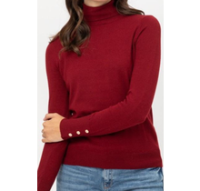 Solid Long Sleeve Turtle Neck Knit Top LT208 | Rust
