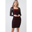 Hearts & Hips Power Mesh Lace Layered Ruched Mini Dress | Black/Red