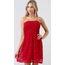 Hearts & Hips Smocking Detailed Tube Lace Dress | Red