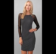 Hearts & Hips Sleeve Mesh Print Detail Dress   Black/Soft White