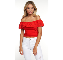Hearts & Hips Eyelet Ruffle Off Shoulder Top | Poppy Red